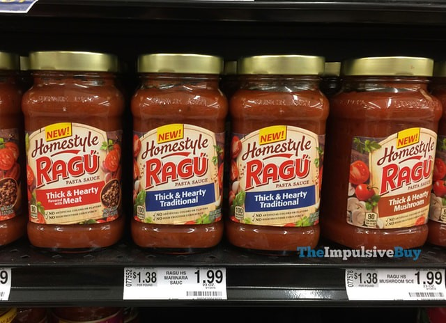 Ragu Homestyle Sauce (Thick & Hearty Meat, Thick & Hearty Traditional, and Thick & Hearty Mushroom)