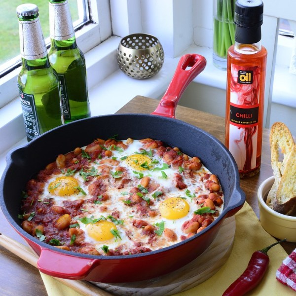 Beans with Spicy Tomato Sauce, Bacon and Eggs