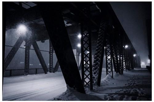 Lake Street Bridge During A Blizzard