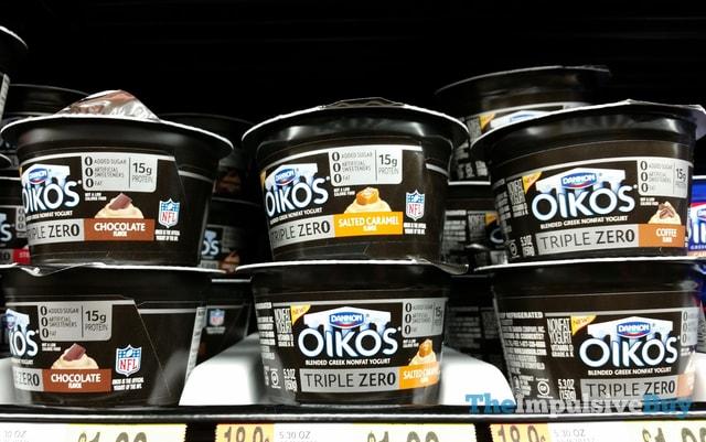 Dannon Oikos Triple Zero Greek Yogurt (Chocolate, Salted Caramel, and Coffee)