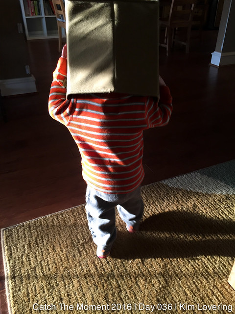 Jonah walking around with a box on his head