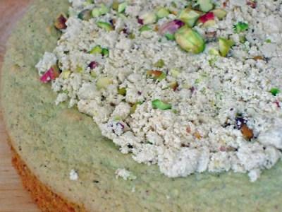 Pistachio Cake with Halva Topping