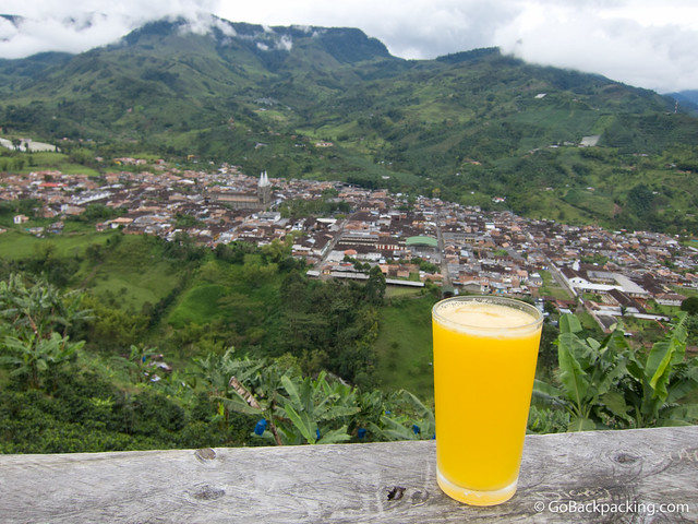 Enjoying a fresh glass of Maracuya juice, while overlooking the pueblo of Jardin.