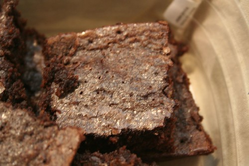 the glisten of brownie fat