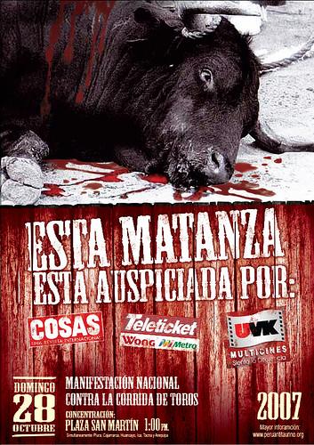 Manifestacion contra las corridas de toros