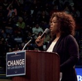 Oprah Winfrey speaks at the Barack Obama rally at UCLA