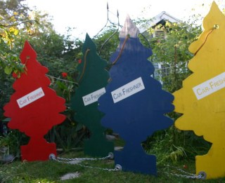 Christmas yard art: Car Freshner's