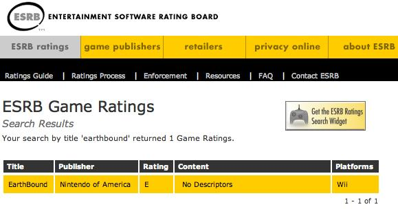Earthbound Wii ESRB