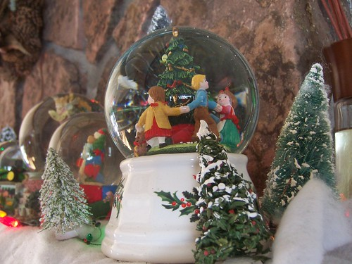 Snowglobes on the mantel