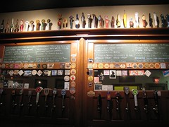 upstairs beer list & taps at Barley's
