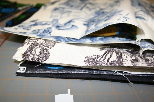stack of napkins ready to be hemmed: Sixth day of Christmas