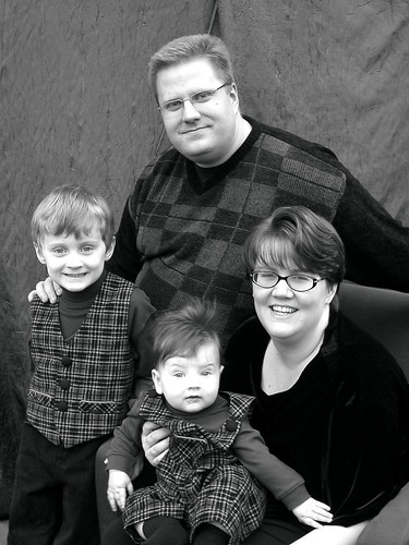 black and white portrait of us, taken in November, 2004.