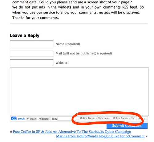 coComment blog ads in cocobar