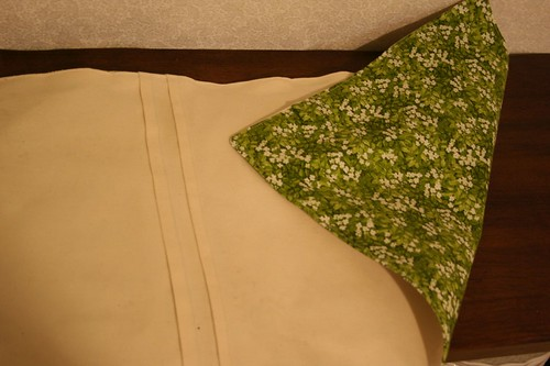 Pretty green floral fabric on the back