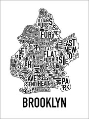 Brooklyn Neighborhood Poster, by Ork Posters