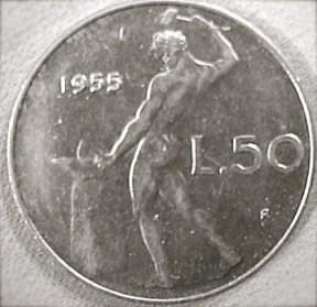 Una delle due facciate della moneta da 50 lire.
