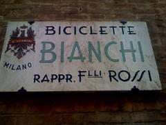 Store sign: Biciclitte Bianchi Milano / Rappr. F Rossi