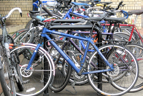 Bike parking at the Oregon Convention Center.
