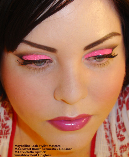 Neon Pink Glitter Eye shadow Tutorial