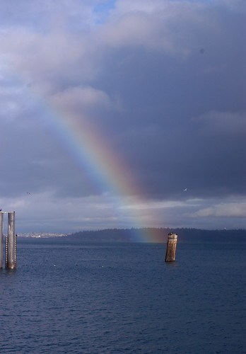 rainbow off the ferry dock