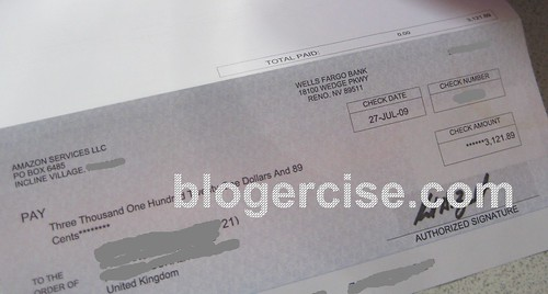 Lasy Months Cheque from Amazon.com