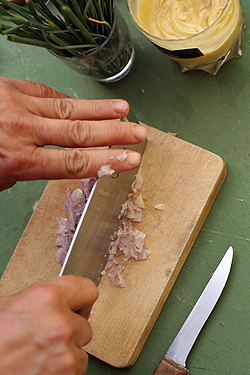 mincing shallots