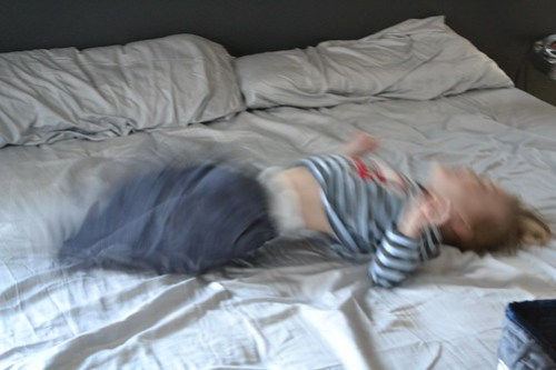 Atti jumping on the bed