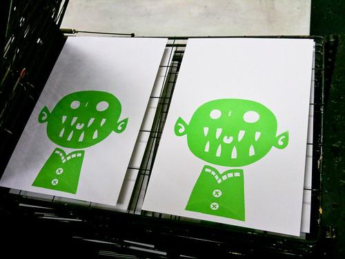 screenprinting class week 3: prints drying