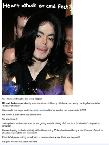 This is what Perez originally wrote about Michael Jackson.