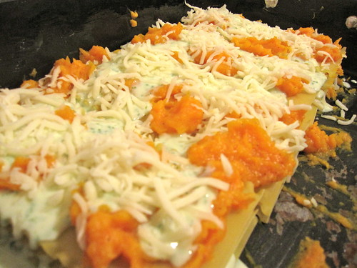 before the butternut squash lasagna hits the oven!