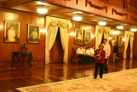 The left wall of the Gallery of Presidents adorned with paintings of past and departed Presidents of the Philippines.