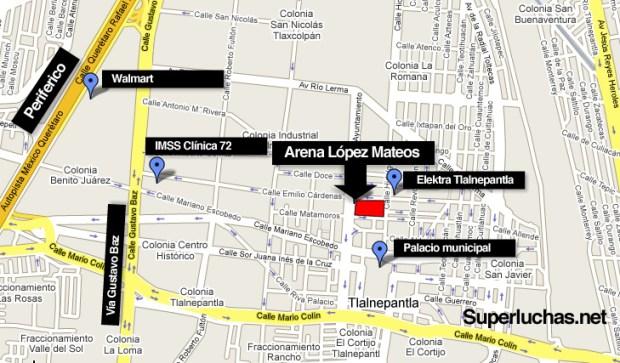 Ubicación de la Arena López Mateos (Emilio Cardenas No. 28 esquina Ayuntamiento, Tlalnepantla) y puntos importantes en su cercanía, incluyendo el Periferico y la Av. Gustavo Baz
