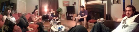 Pano of the skit happens meeting at the briggs'