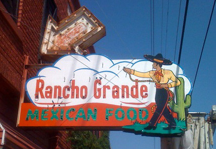The recently repainted El Rancho Grande sign.