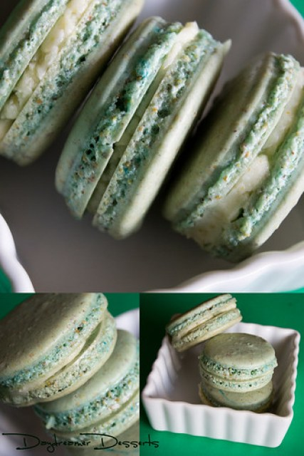Pistachio Macarons Filled with Pistachio White Chocolate Buttercream