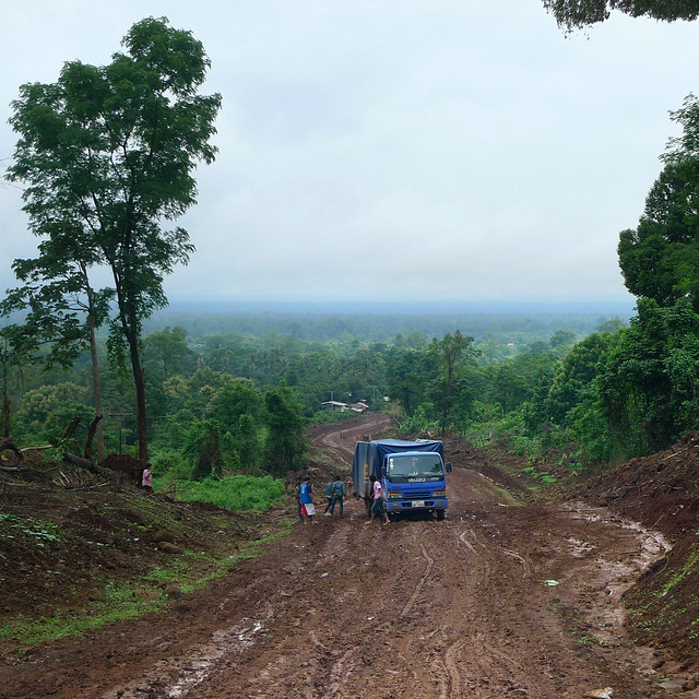 Miles of bad road to Salavan