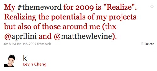 My #themeword from 2009: Realize