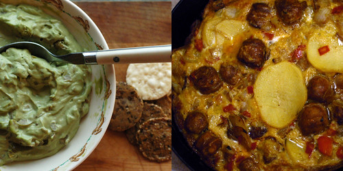 green olive dip and chorizo tortilla