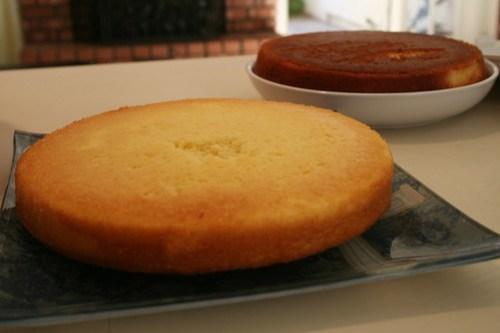 Coconut cake, in process