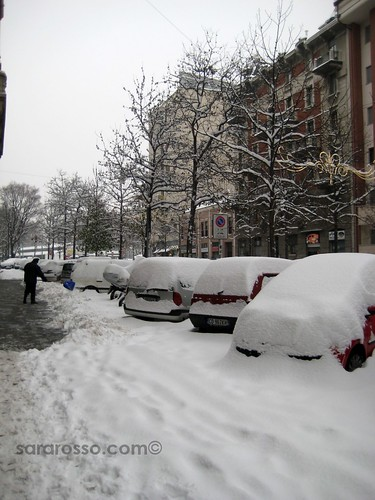 Plowing snow by hand, Milan, Italy, December 22, 2009