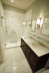 BK Limestone master bath after