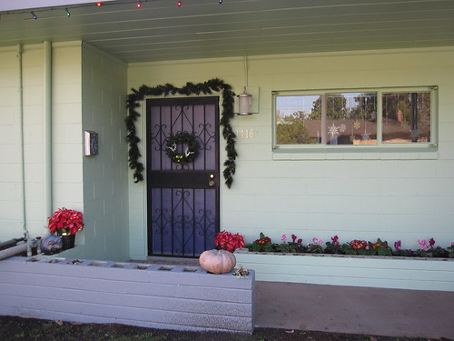The decorated front porch