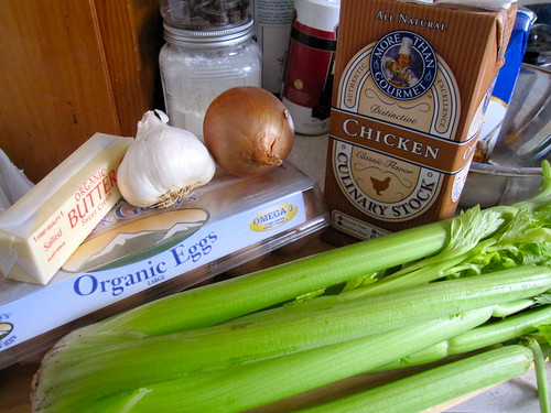 some of the ingredients for the sausage sage stuffing