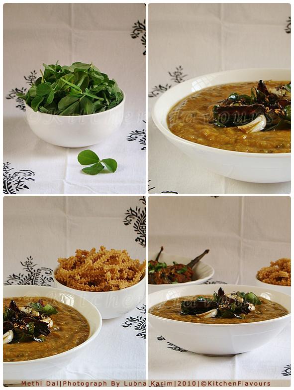 Methi Dal/Medley of Fenugreek leaves with Lentils