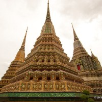 Beautiful Pagodas On A Rainy Day, At Wat Pho, Reclining Buddha Temple, In Bangkok, Thailand
