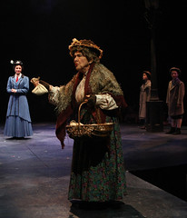 Helen Geller (Bird Woman), Kelly McCormick (Mary Poppins), Noa Solorio (Jane Banks) and Ben Ainley-Zoll (Michael Banks) in Mary Poppins, produced by Music Circus at the Wells Fargo Pavilion July 8 - 13, 2014. Photos by Charr Crail.