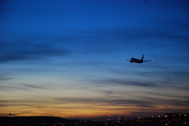Stuttgart Airport at dusk
