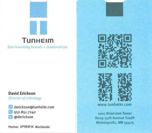 David Erickson's business card