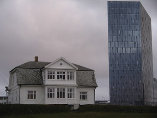 Old and new, house of Höfði and office block Reykjavik