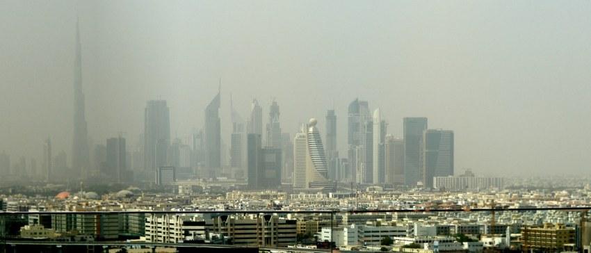Skyline del area Financiera desde el Hotel Hilton Dubai Creek